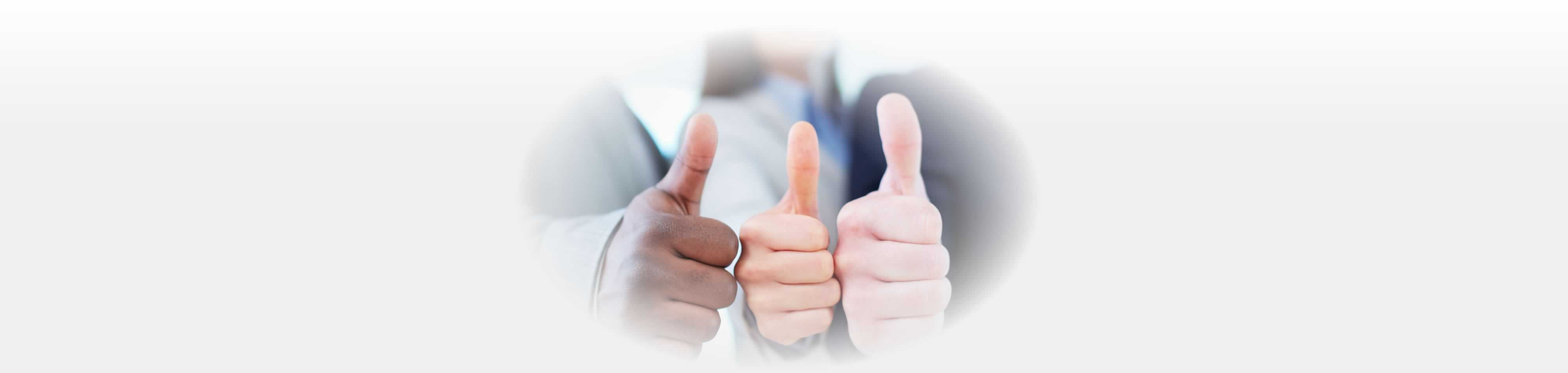 Photo of three thumbs up.