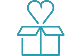 Icon of gift box with heart going inside it.